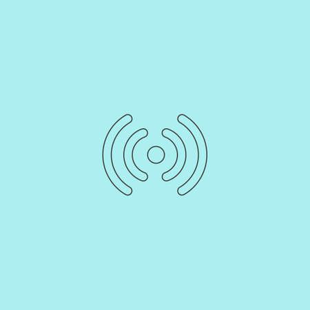 wireless signal: Wireless Network zone. Signal. Simple outline flat vector icon isolated on blue background
