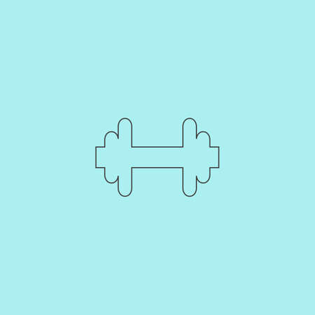dumb: Dumbbell. Simple outline flat vector icon isolated on blue background