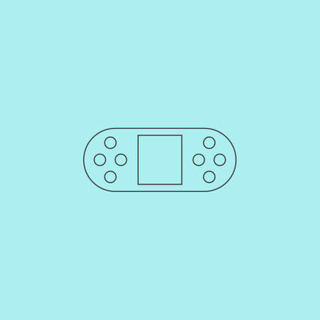 portable console: Portable Video Game Console. Simple outline flat vector icon isolated on blue background