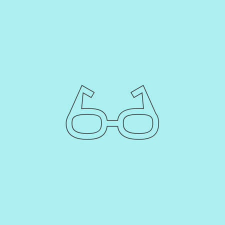 spectacle frame: Simple Glasses. Simple outline flat vector icon isolated on blue background