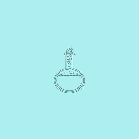 stinks: Chemistry bulb. Simple outline flat vector icon isolated on blue background Illustration