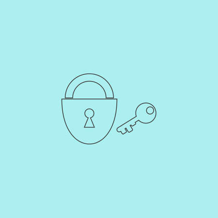 passkey: Padlock and key. Simple outline flat vector icon isolated on blue background Illustration