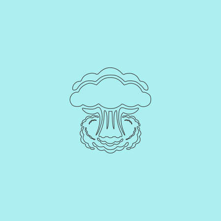 hydrogen bomb: Mushroom cloud, nuclear explosion, silhouette. Simple outline flat vector icon isolated on blue background Illustration