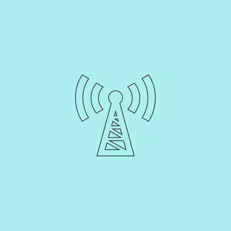 transmitter: Transmitter. Simple outline flat vector icon isolated on blue background Illustration