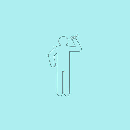 desperation: Man with a cigarette. Simple outline flat vector icon isolated on blue background