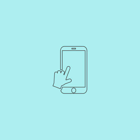 smartphone icon: Hand slide smartphone. Simple outline flat vector icon isolated on blue background Illustration