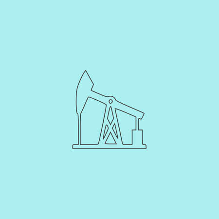 Oil derrick. Simple outline flat vector icon isolated on blue background Иллюстрация