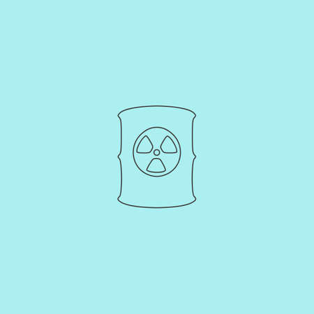 hazardous substance: Container with radioactive waste. Simple outline flat vector icon isolated on blue background