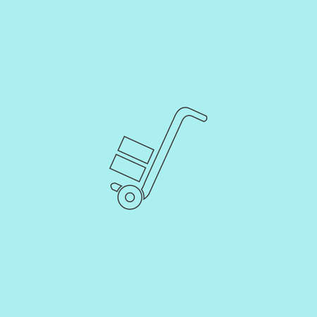 hydraulic platform: Manual loader. Simple outline flat vector icon isolated on blue background