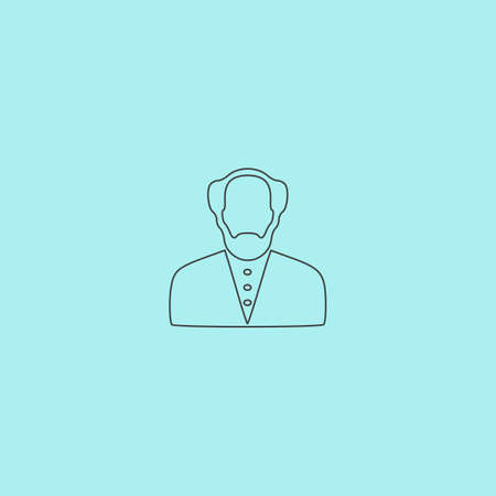 knack: Scientist. Simple outline flat vector icon isolated on blue background