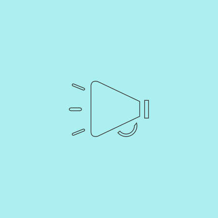 mouthpiece: Simple mouthpiece. Simple outline flat vector icon isolated on blue background