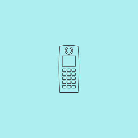 Retro mobile phone. Simple outline flat vector icon isolated on blue background