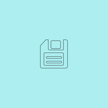 salvaging: Magnetic floppy disc for computer data storage. Simple outline flat vector icon isolated on blue background Stock Photo