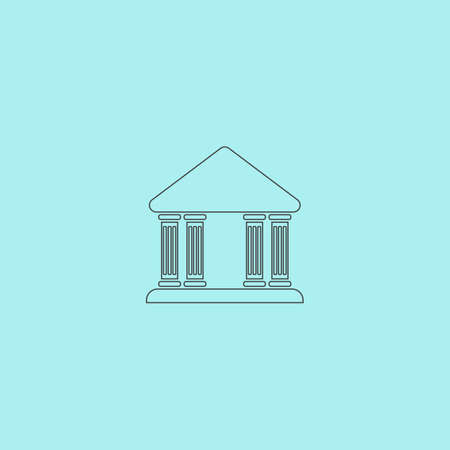 governmental: Court building. Simple outline flat vector icon isolated on blue background Vectores