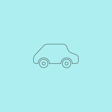 simple logo: Toy Car logo template. Simple outline flat vector icon isolated on blue background Illustration