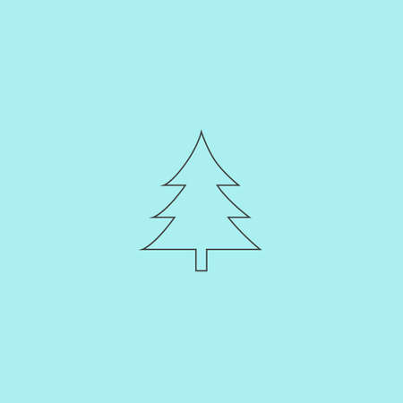 evergreen trees: Spruce, christmas tree. Simple outline flat vector icon isolated on blue background Illustration