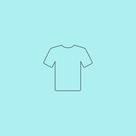 office wear: Tshirt. Simple outline flat vector icon isolated on blue background