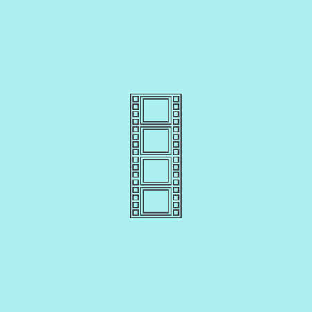 cinematografico: Cinematographic film. Simple outline flat vector icon isolated on blue background