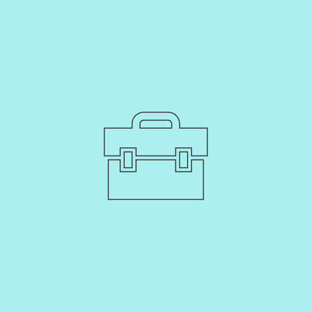 1 school bag: Briefcase. Simple outline flat vector icon isolated on blue background