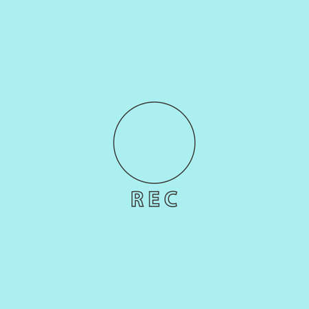 rec: Rec button. Simple outline flat vector icon isolated on blue background