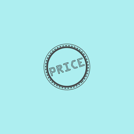 price uncertainty: Price Badge Label or Sticker. Simple outline flat vector icon isolated on blue background