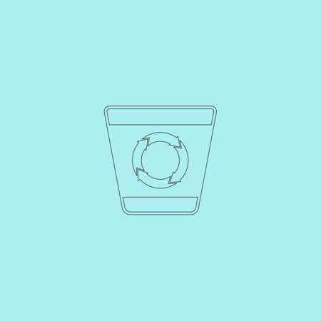refuse bin: Recycle bin. Simple outline flat vector icon isolated on blue background Illustration