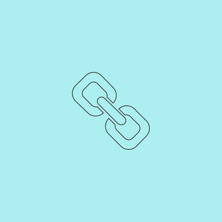 pressure linked: Link. Simple outline flat vector icon isolated on blue background