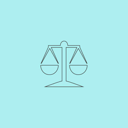 acquittal: Mechanical scales. Simple outline flat vector icon isolated on blue background Illustration