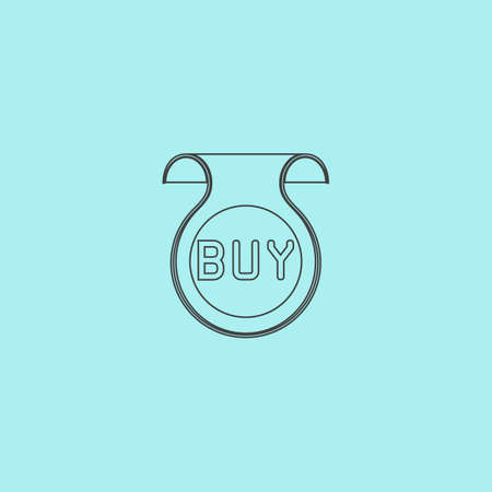 price uncertainty: Bookmark with Buy message. Simple outline flat vector icon isolated on blue background