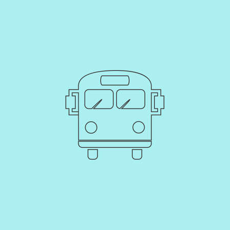back view student: School Bus. Simple outline flat vector icon isolated on blue background