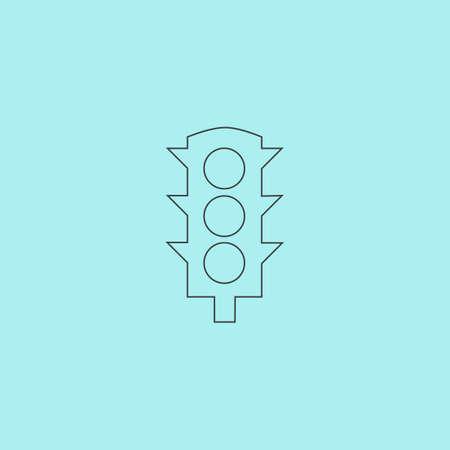 semaforo peatonal: Semáforo simple. Esquema simple icono vector plana aislado en fondo azul Vectores