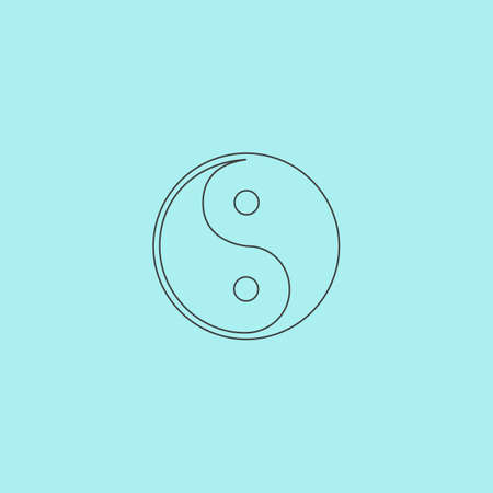 daoism: Ying-yang icon of harmony and balance. Flat web sign isolated on grey background. Collection modern trend concept design style vector illustration symbol