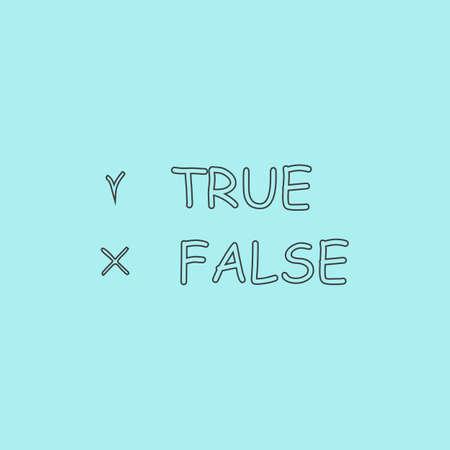 validity: Verdadero y falso. Esquema simple icono vector plana aislado en fondo azul
