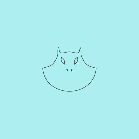 Executioner evil face mask. Simple outline flat vector icon isolated on blue background