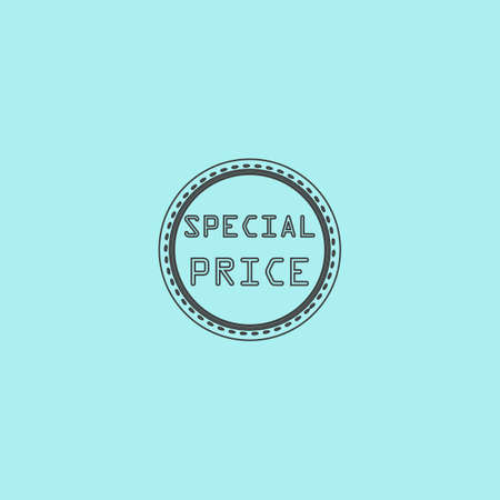 price uncertainty: Special Badge, Label or Sticker. Simple outline flat vector icon isolated on blue background