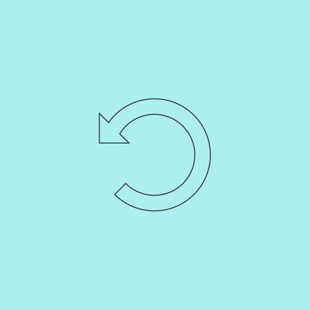 flexure: Rotation Arrow. Simple outline flat vector icon isolated on blue background