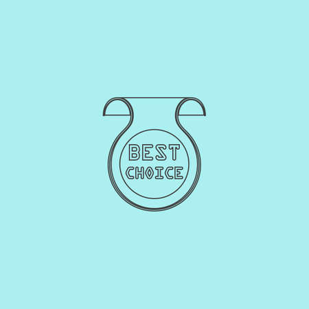 uncommon: Bookmark with Best Choice message. Simple outline flat vector icon isolated on blue background