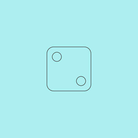 tossing: One dices - side with 2. Simple outline flat vector icon isolated on blue background