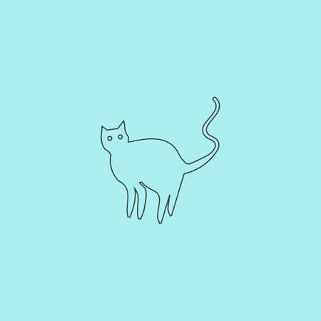 Evil Cat silhouette. Simple outline flat vector icon isolated on blue background