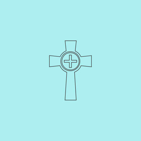 gravestone: Tombstone - cross gravestone. Simple outline flat vector icon isolated on blue background