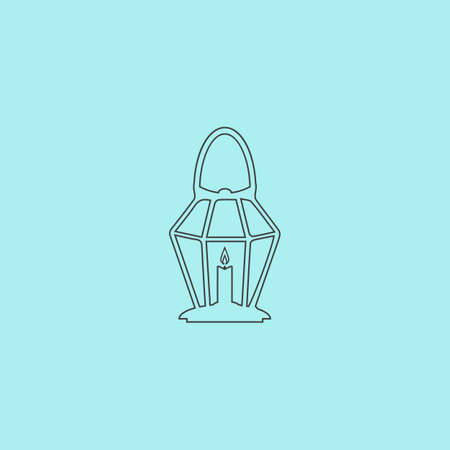 oillamp: Lantern. Simple outline flat vector icon isolated on blue background Illustration