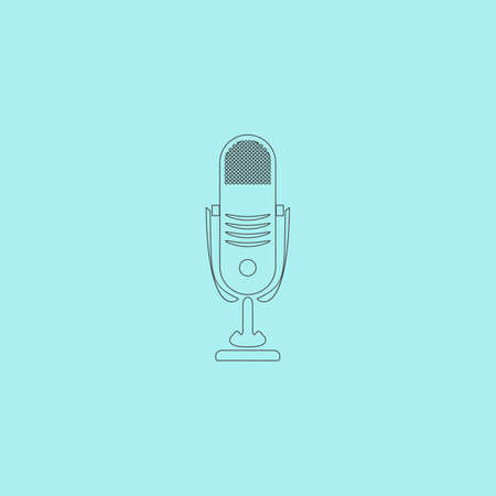airwaves: Simple retro microphone. Simple outline flat vector icon isolated on blue background