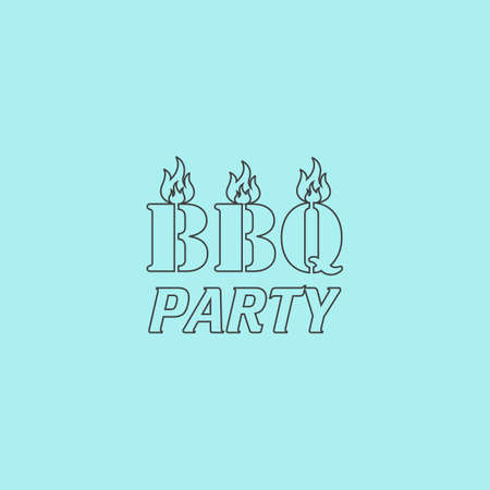 sizzling: Flaming BBQ Party word design element. Simple outline flat vector icon isolated on blue background