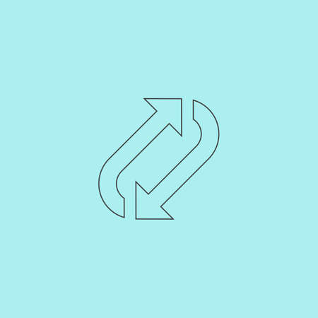 repetition: Repetition arrow. Simple outline flat vector icon isolated on blue background Illustration