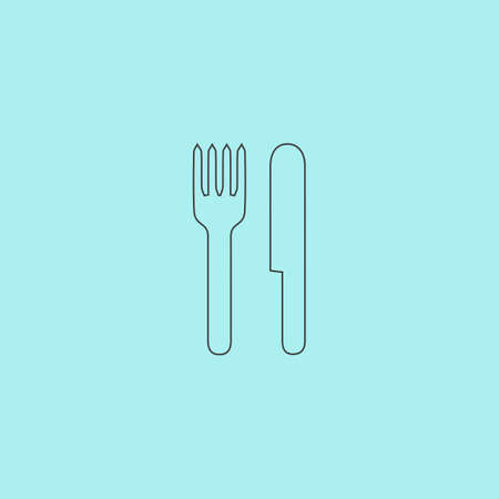 dinning table: Simple fork and knife. Simple outline flat vector icon isolated on blue background Illustration