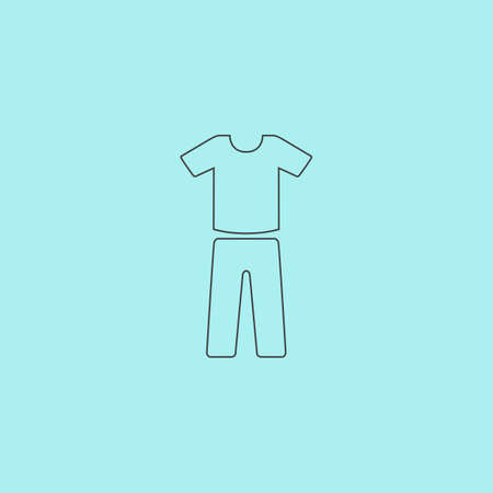 Uniform - pants and t-shirt. Simple outline flat vector icon isolated on blue background Illustration