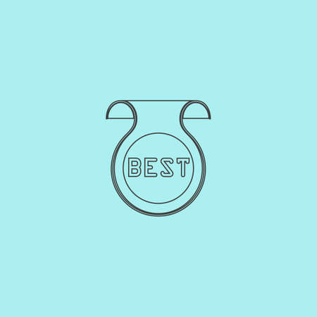 best message: Bookmark with Best message. Simple outline flat vector icon isolated on blue background