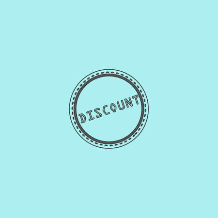 price uncertainty: Discount Badge Label or Sticker. Simple outline flat vector icon isolated on blue background Illustration