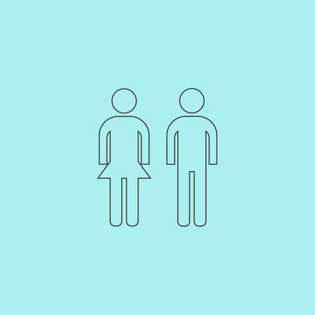 compliant: Simple man and woman. Simple outline flat vector icon isolated on blue background Illustration
