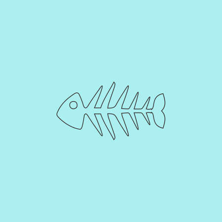 skeleton of fish: Fish skeleton. Simple outline flat vector icon isolated on blue background